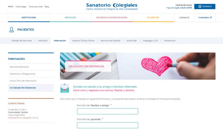 Sanatorio Colegiales – Servicio online para pacientes: Un saludo sin distancias